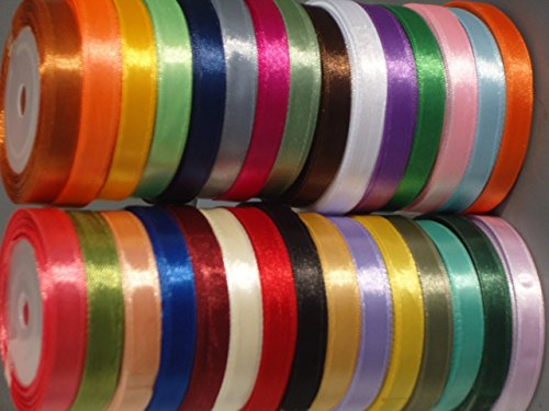 Double Satin Bow (1/2 inch Double face Satin Ribbon Assorted colours (Pack of 12))