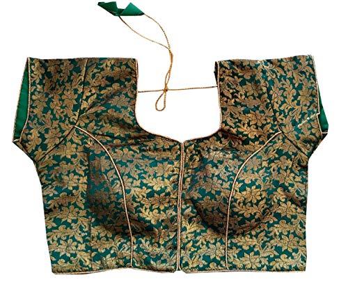MULAH Women Brocade Indian Traditional Wear Golden Work Blouse Stitched Blouse Rama Green 36