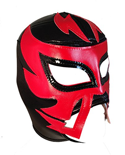 RAYMAN Adult Lucha Libre Wrestling Mask (pro-fit) Costume Wear - Black/Red by Mask Maniac