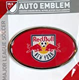 New York Red Bulls Raised Metal Domed Oval Color Chrome Auto Emblem Decal MLS Soccer Football Club