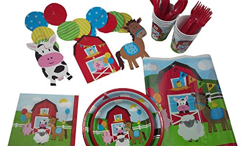 Farm House Party Kit for 8. Barn Yard Fun for Everyone.
