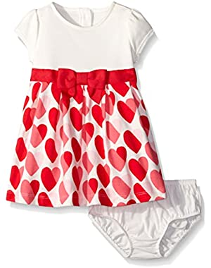 Baby Girls' Multi-Colored Heart Print Dress