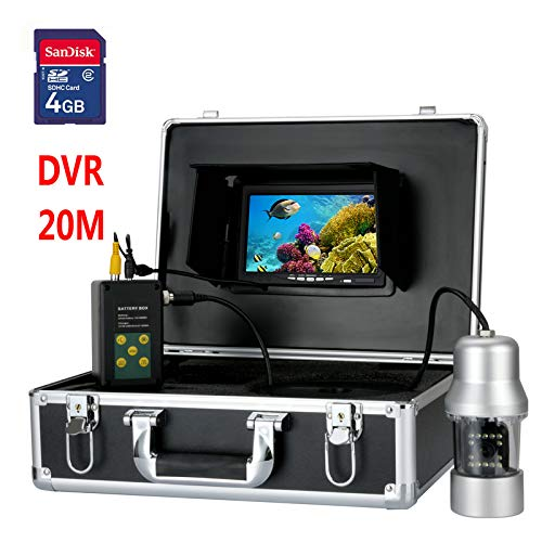 (HONGSHENG 7 Inch TFT DVR Recorder 20M Underwater Video Fishing Camera System 0-360 Degree View, Remote Control, 14 x White Lights)