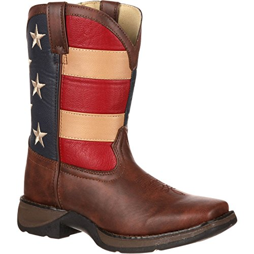 Durango Kids BT245 Lil' 8 Inch Patriotic,Brown/Union Flag,3 Little Kid