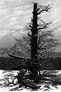 Caspar David Friedrich Poster Adhesive Photo Wall-Print - Oak Tree In The Snow, 1829, B/W (71 x 47 inches)