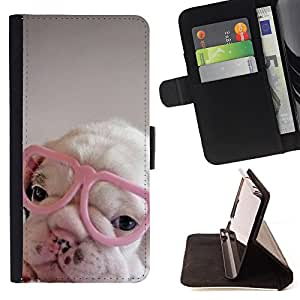 Super Marley Shop - Leather Foilo Wallet Cover Case with Magnetic Closure FOR Samsung Galaxy A3 a3000- Bulldog Bull Dog Pet Puppy