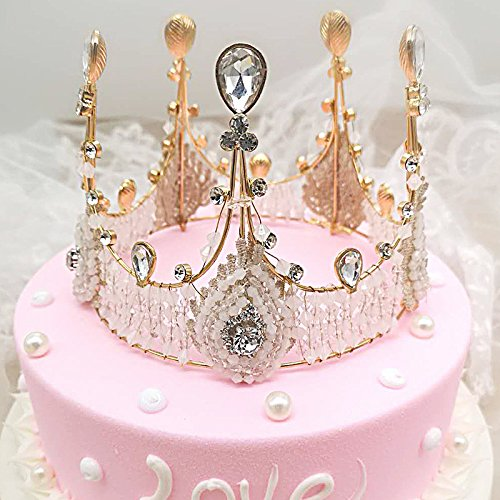 Gold Crown Cake Topper Vintage Rhinestone Prince Princess Queen Birthday Prom Party Top Amazon Grocery Gourmet Food