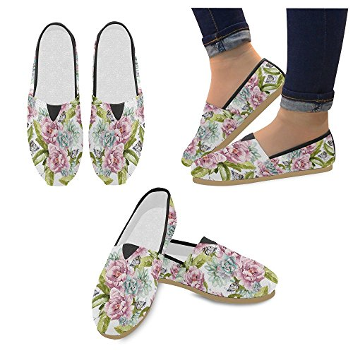 InterestPrint Rock and Roll music hipster Loafers Casual Shoes for Women Watercolor Pattern mZrfHq