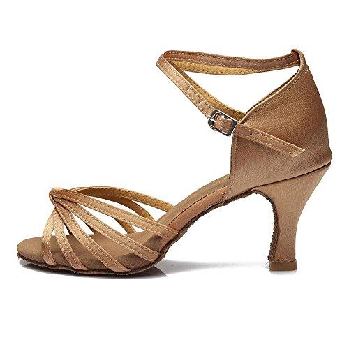 YFF Satin/PU Women Latin dancing shoes Ballroom dancing shoes heeled 7CM Beige 7CM