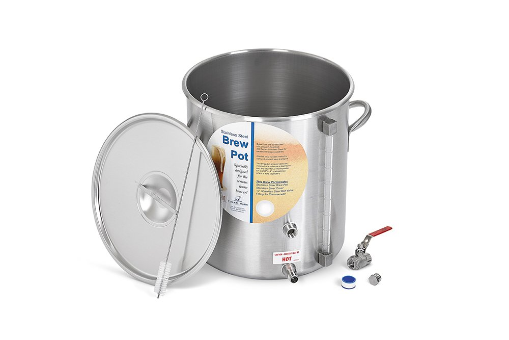 Polar Ware Stainless Steel Brew Pot with Cover, Ball Valve, Hex Plug and Sight Gauge, 42-Quart