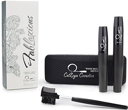 3D Fiber Lash Mascara by CatZeyes Cosmetics - Set of Jet Black Lengthening Volumizing 3D Mascara - Highest Quality for Sensitive (Sexy Bunny Makeup)