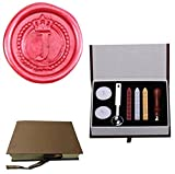 MDLG Vintage Alphabet Letter J Crown Wreath Initial Embossment Wedding Invitations Gift Cards Wax Seal Stamp Stationary Sealing Wax Stamp Wood Handel Gift Box Candles Wax Sticks Melting Spoon Kit Set