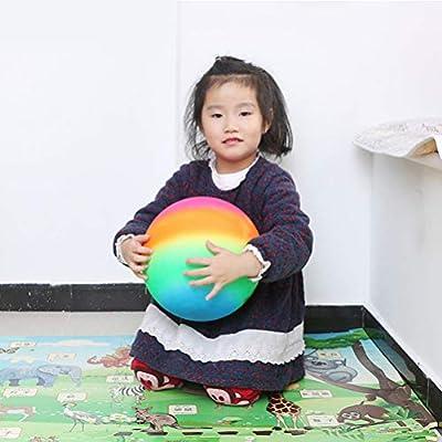 Garneck 5pcs Rainbow Balls 22cm Thickened Kickball Children Toy Play Ball Flapping Ball Rainbow Balls for Outdoor Indoor Playground: Sports & Outdoors