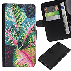 All Phone Most Case / Oferta Especial Cáscara Funda de cuero Monedero Cubierta de proteccion Caso / Wallet Case for Sony Xperia Z2 D6502 // Leaves Tree Green Red Stripes