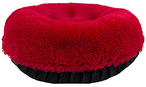 BESSIE AND BARNIE 36-Inch Bagel Bed for Pets, Medium, Black Puma/Lipstick