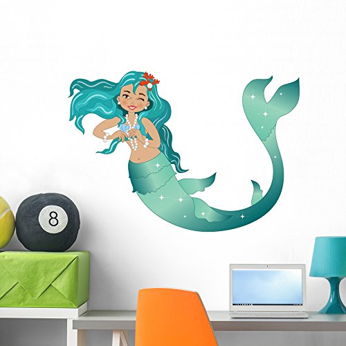 Wallmonkeys Sea Green Mermaid Wall Decal Peel and Stick Decals for Girls (36 in W x 25 in H) WM368661 ()
