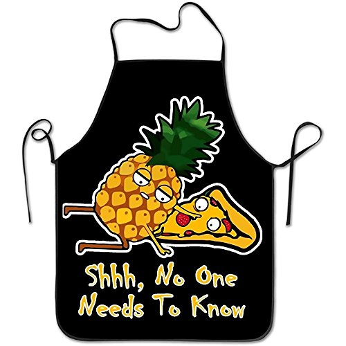 (Pineapple Pizza Shirt Shhh No One Has To Know Home Kitchen Apron BBQ Kitchen Cooking Bib Apron For Women Men)