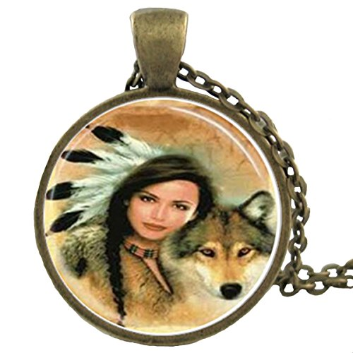 Blazing Autumn Native American Glass Dome Pendant Fashion Necklaces (Native American Indian Woman with Wolf)