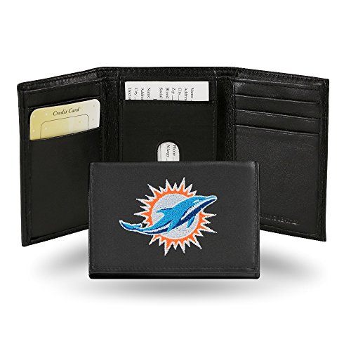 (NFL Miami Dolphins Embroidered Genuine Leather Trifold Wallet )