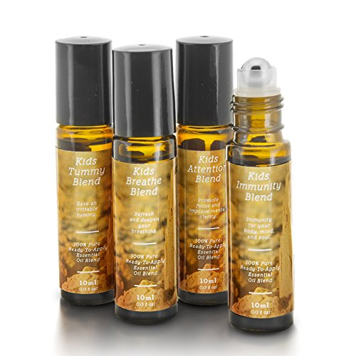 Body Oil Roll (Kids Essential Oil Blend Roll-On Kit | Immunity, Attention, Breathe, Tummy | 4 10ml Ready-To-Apply Roll-Ons | 100% Pure & Therapeutic Quality | Safe for Kids | Child Oils)