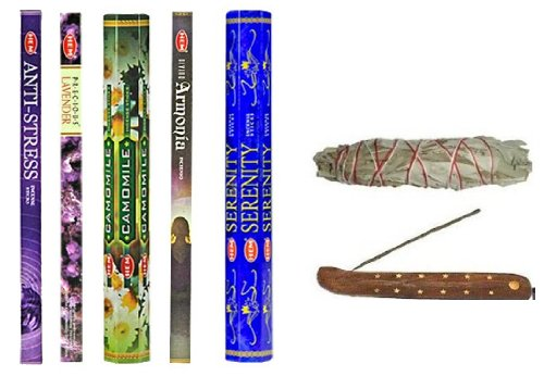 Ultimate Relaxation Incense Combination- Anti Stress, Serenity, Lavender, Harmony, Camomile a Wooden Canoe Incense Holder and a 4 Inch White Sage Smudge Stick