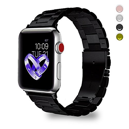 - Bandmax Removable Link Bracelet Compatible Apple Watch,Replacement Strap Link Metal Band Accessories Mix Folding Clasp Compatible iWatch Series 4/3/2/1(Black Gun Plated 38MM 40MM)