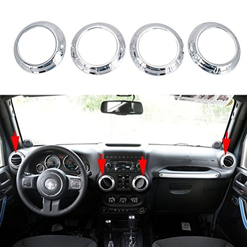 Opar Silver Air Conditioning Vent Cover Trim for 2007 - 2016 Jeep Wrangler - Set ()