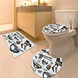 MikiDa Soft Toilet Rug 3 Pieces Set set of asian dishes thai food noodles and rice Customized Super Soft Plush
