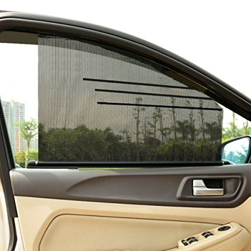 2 Piece Universal Fit Car - Xcellent Global 1 Piece Universal Car Side Window Shades Auto Roller UV Protection Safety Sunshades DIY Tailorable Window Curtain 25.6 x 21 inch AT029M