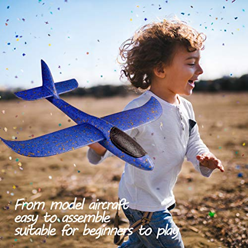 Refasy Foam Airplanes for Kids Children 18.9inch Gliders Airplane Toy Set Hand Throwing Challenging Model Foam Aircarft Two Flight Modes Best Outdoor Sport Flying Plane Toys for Kids Gift Blue by Refasy (Image #6)