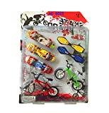 Jutao Kids Mini Educational Fingerboards Skateboards Toys with Metallic Stents/2 Bikes