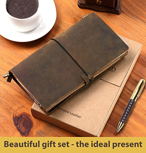 Refillable Leather Journal Refillable Travelers Notebook AMAZING BUNDLE 8.5x4.5 Vintage Antique Genuine Leather Travel Diary + Pen-Holder Clip Zipper Card Pocket Papers Notes Sketching Drawing Near A5