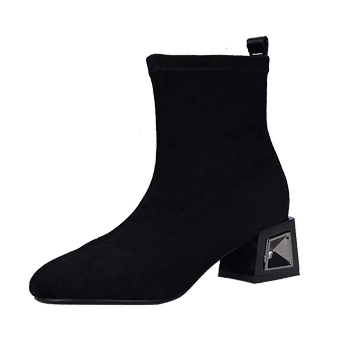 AJUNR Modische Arbeit Damenschuhe Schwarze Stiefel mit hohen 5cm mittlere u Stiefel grob Hacken einfacher und vielseitiger EIN fuß Tritt nahe bei Chelsea Stiefel