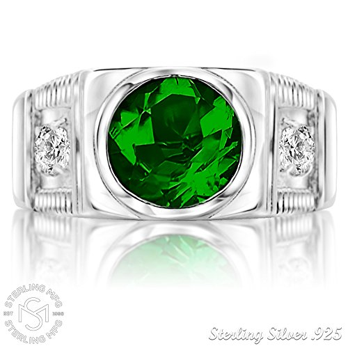 Men's Sterling Silver .925 Ring with Green Round Center CZ Stone and 2 White Cubic Zirconia (CZ) Stones by Sterling Manufacturers (Image #2)