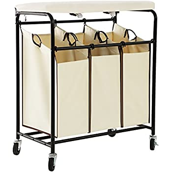 SONGMICS Laundry Sorter With Ironing Board 3 Bag Heavy Duty Rolling Laundry  Hamper With Removable Bags Brake Casters Beige URLS50M