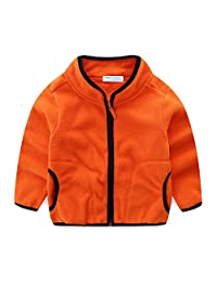 Children's Clothing Unisex Candy Color Design Cardigan Fleece Jackets