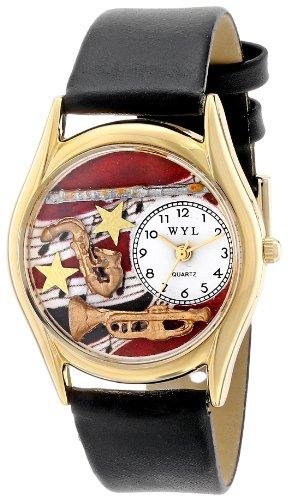 Skurril Uhren Blasinstrumente schwarzem Leder und goldfarbenes Unisex Quarzuhr mit weißem Zifferblatt Analog-Anzeige und-Lederband c-0510015