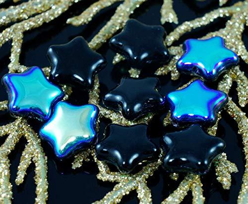 Metallic Iris Gold Opaque Black Czech Glass Star Beads Halloween 12mm 12pcs