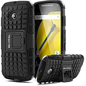 Moto E (2nd Gen) Case, Evocel® Heavy Duty Armor Case with Stand For Motorola Moto E (2nd Generation / 2015 Release) (Cricket / Boost Mobile / Sprint / Verizon / Virgin Mobile) - Evocel® Retail Packaging, Black