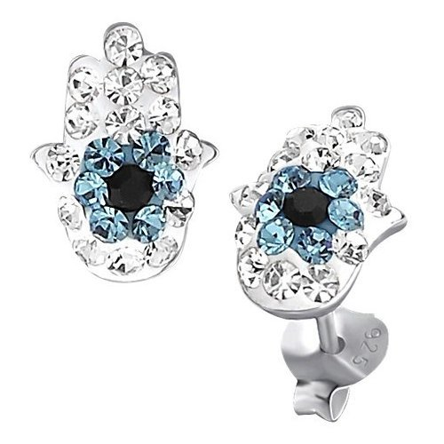 So Chic Jewels - Sterling Silver Blue White Black Crystal Hand of Fatima Stud Earrings
