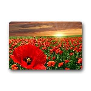 Beautiful Poppy Flowers Field Indoor / Outdoor Non-Slip Rubber Doormats Door Mat 18 x 30 Inch