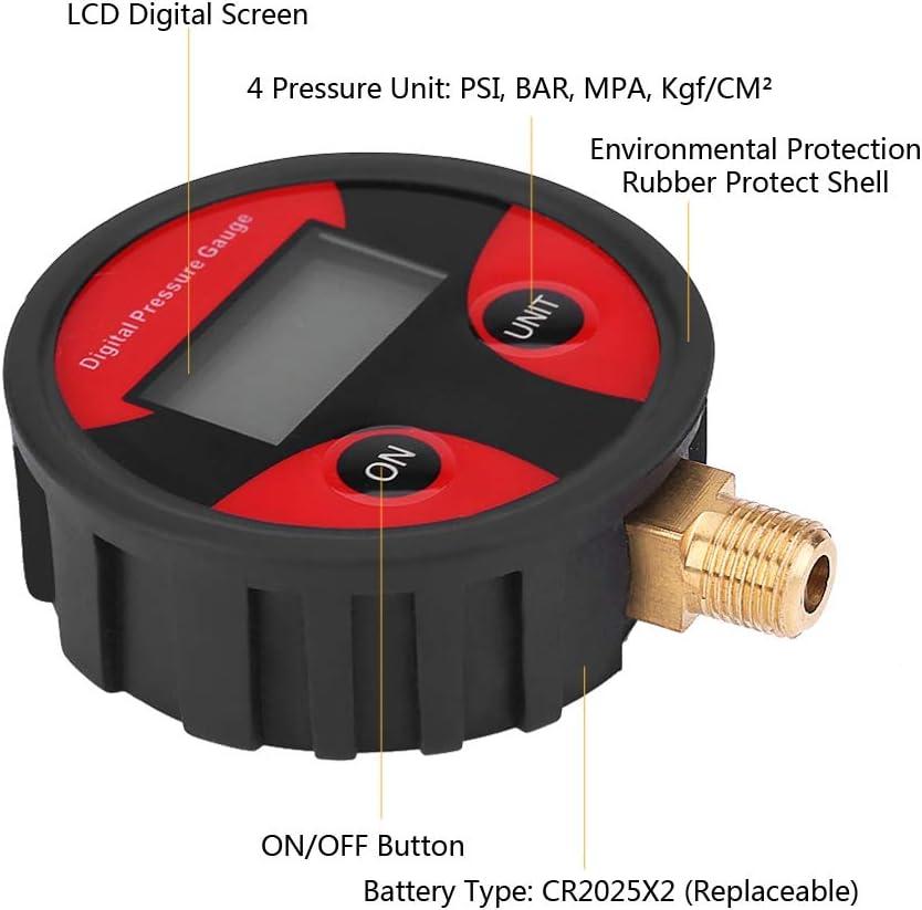 KIMISS Manometer 0-200PSI LCD Digital Reifenreifen Luftdruckmesser f/ür PKW-Lkw-Motorr/äder