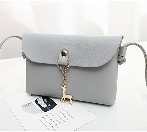 BCDshop Women Small Crossbody Shoulder Bag,GILR Deer Pendant Faux Leather Wallet Coin Purse (Gray) by BCDshop Shoulder Bag (Image #5)