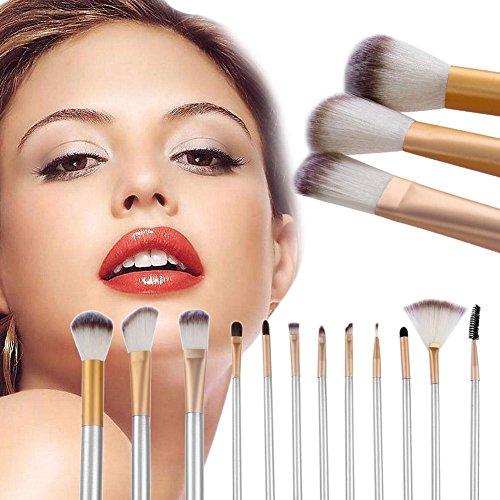 12Professionelle Make-up Pinsel 3Farben Borsten Silber Griff (kurz)