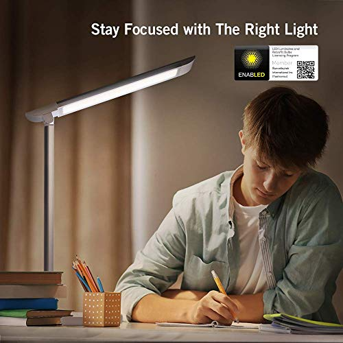 TaoTronics LED Desk Lamp, Eye-caring Table Lamps, Dimmable Office Lamp with USB Charging Port, 5 Lighting Modes with 7 Brightness Levels, Touch Control, White, 12W, Philips EnabLED Licensing Program by TaoTronics (Image #5)