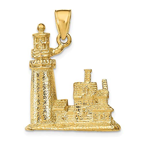 - 14K Yellow Gold Charm Pendant, 3-D Cape Cod Lighthouse, Ma