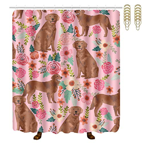 Retriever School Bathroom Accessories - NiYoung Golden Retriever Dog Polyester Fabric Home Decor Shower Curtain, Hotel Quality Machine Washable Eco-Friendly Waterproof Bath Shower Curtain Great for Showers & Bathtubs 60x70 Inch