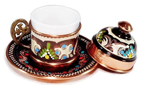 (Copper Turkish Coffee Cup with Saucer and Lid)