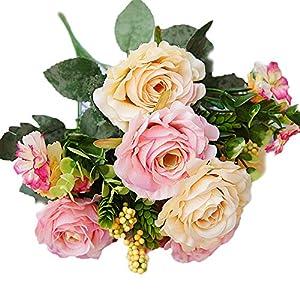 Estyle Fashion 11PCS Real Looking Soft Touch Artifical Small Roses Flowers Bouquet Arrangement Floral Wedding Party Festival Decor 74