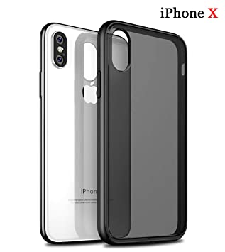 ZSCHAO Funda iPhone X Carcasa Negro Mate Slim Fit Funda Suave TPU Silicona Y Duro PC Híbrido Case AntiGolpes Hybird Hard Case Cover(Mitad ...
